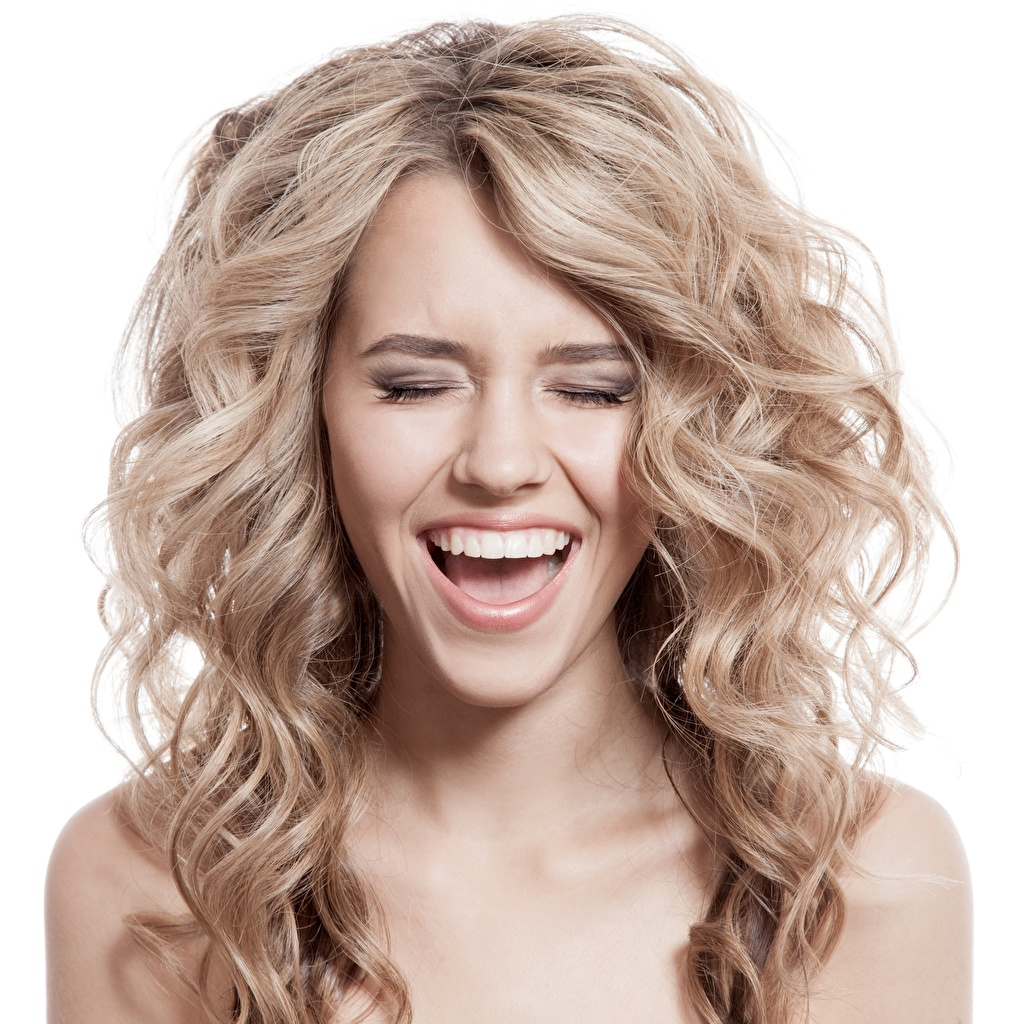 Pictures Dark Blonde Blonde girl laughs Hair female laugh Laughter Girls young woman