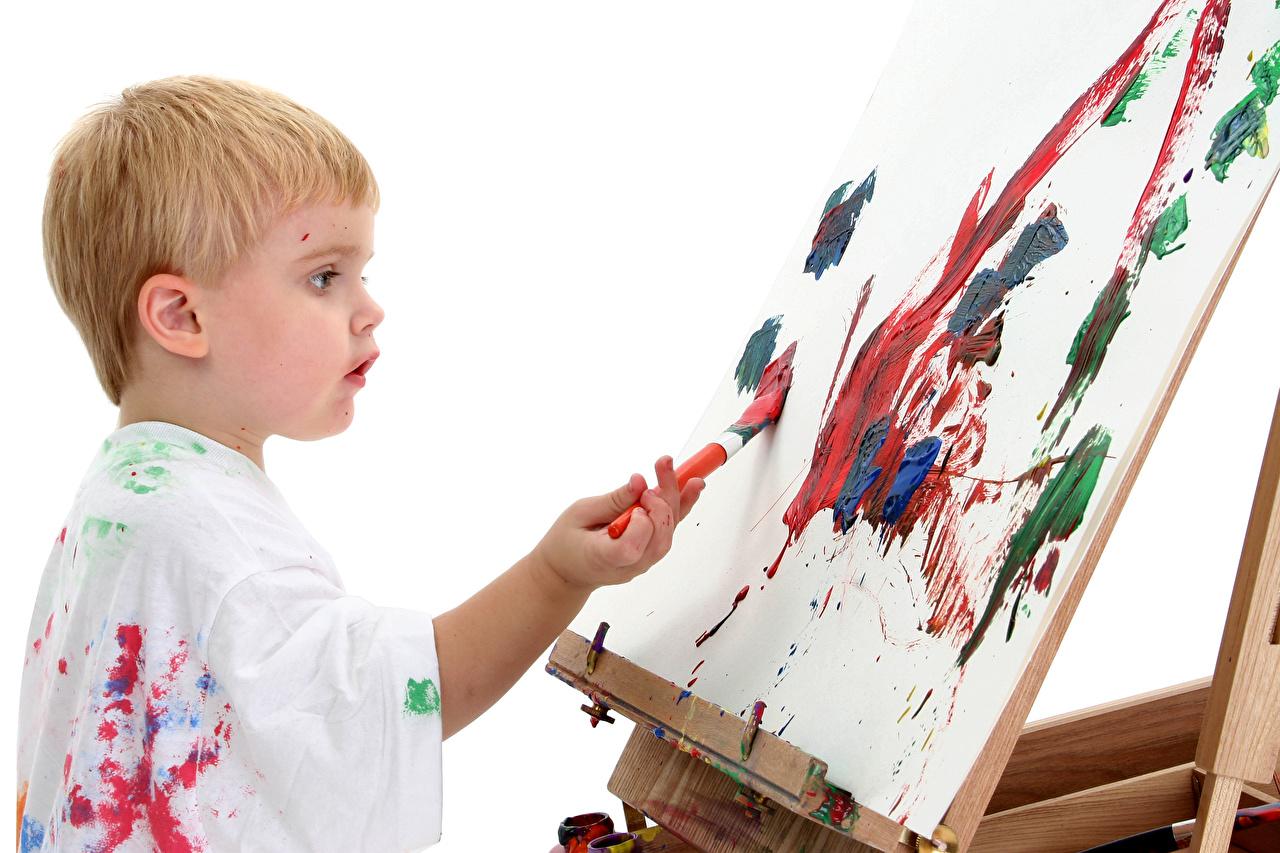 Afbeelding kind jongens Papier blad Verf Penseel Kinderen Jongen