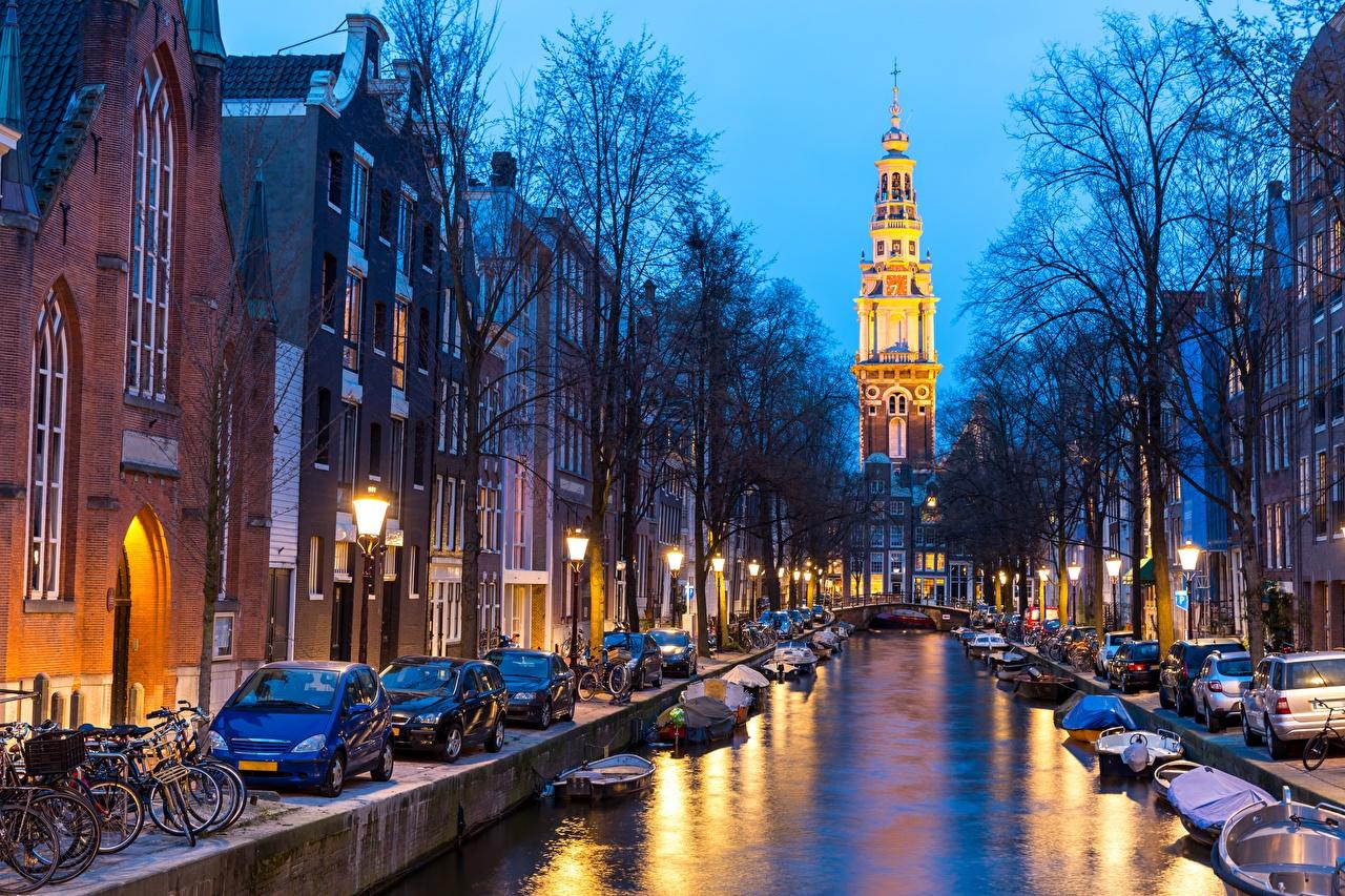 Photo Amsterdam Netherlands Canal Evening Cities