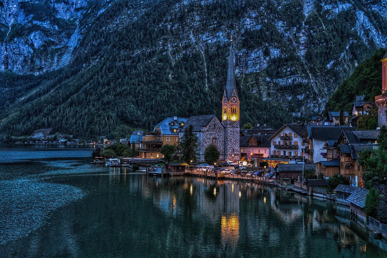 Picture Church Hallstatt Austria Coast Marinas night time Cities Building Pier Berth Night Houses