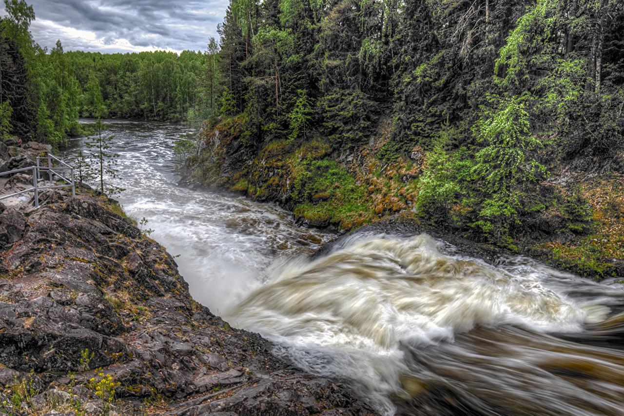 Foto Russland Suna River Karelia Natur Wälder Wasserwelle Flusse