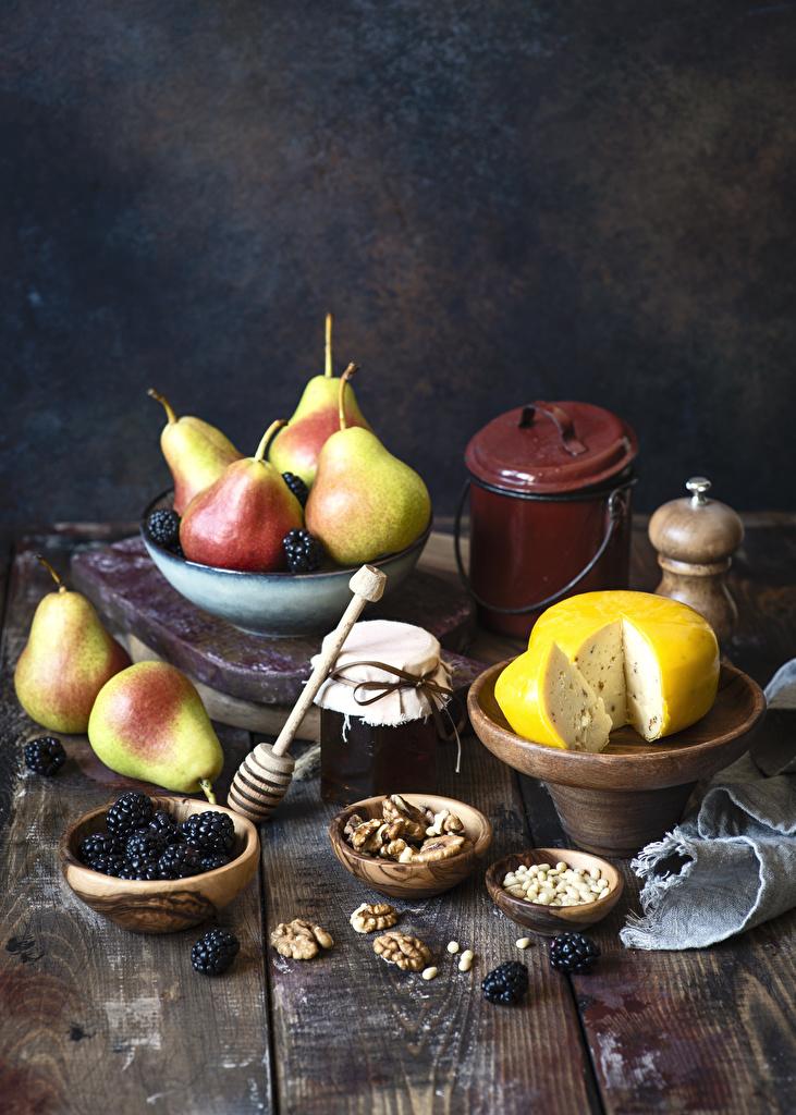 Image Jam Jar Pears Cheese Blackberry Food Nuts Wood planks  for Mobile phone Varenye Fruit preserves boards