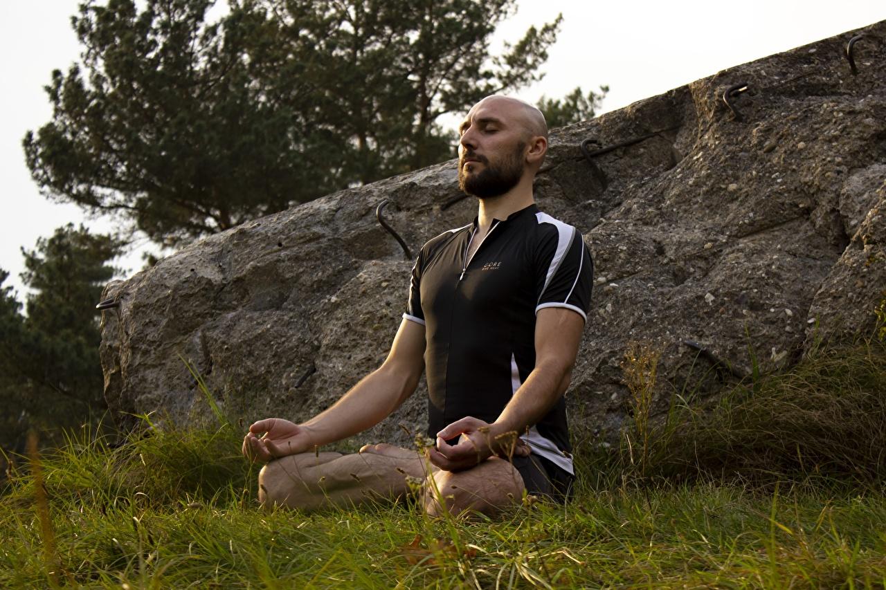 Fotos Lotossitz Joga Mann Glatze Gras Sitzend Lotussitz Yoga