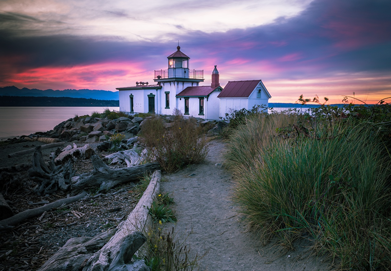 Wallpaper Seattle USA Discovery Park, West Point lighthouse path Lighthouses park sunrise and sunset stone Grass Cities Trail Parks Sunrises and sunsets Stones
