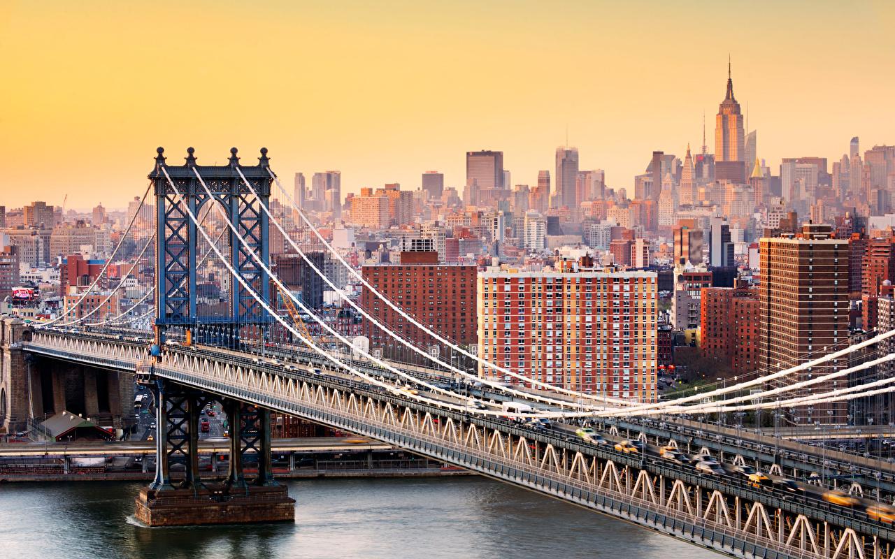 Pictures Manhattan New York City USA Brooklyn Bridge Bridges Cities bridge