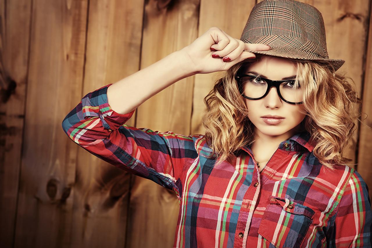 Wallpaper Blonde girl Hat female Hands Glasses Glance Wood planks Girls young woman eyeglasses Staring boards