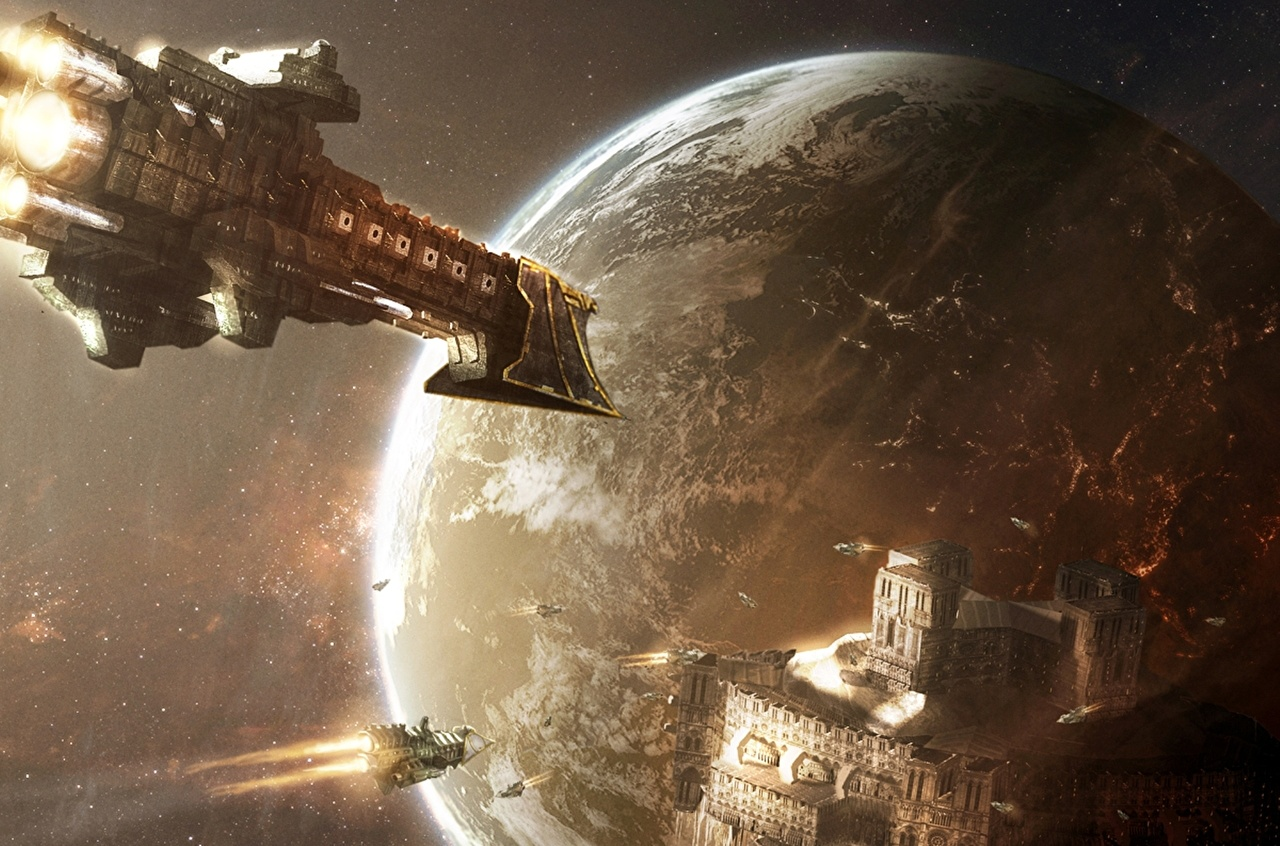 Picture Warhammer 40000 Planets Starship Space Fantasy ship Technics Fantasy planet Ships