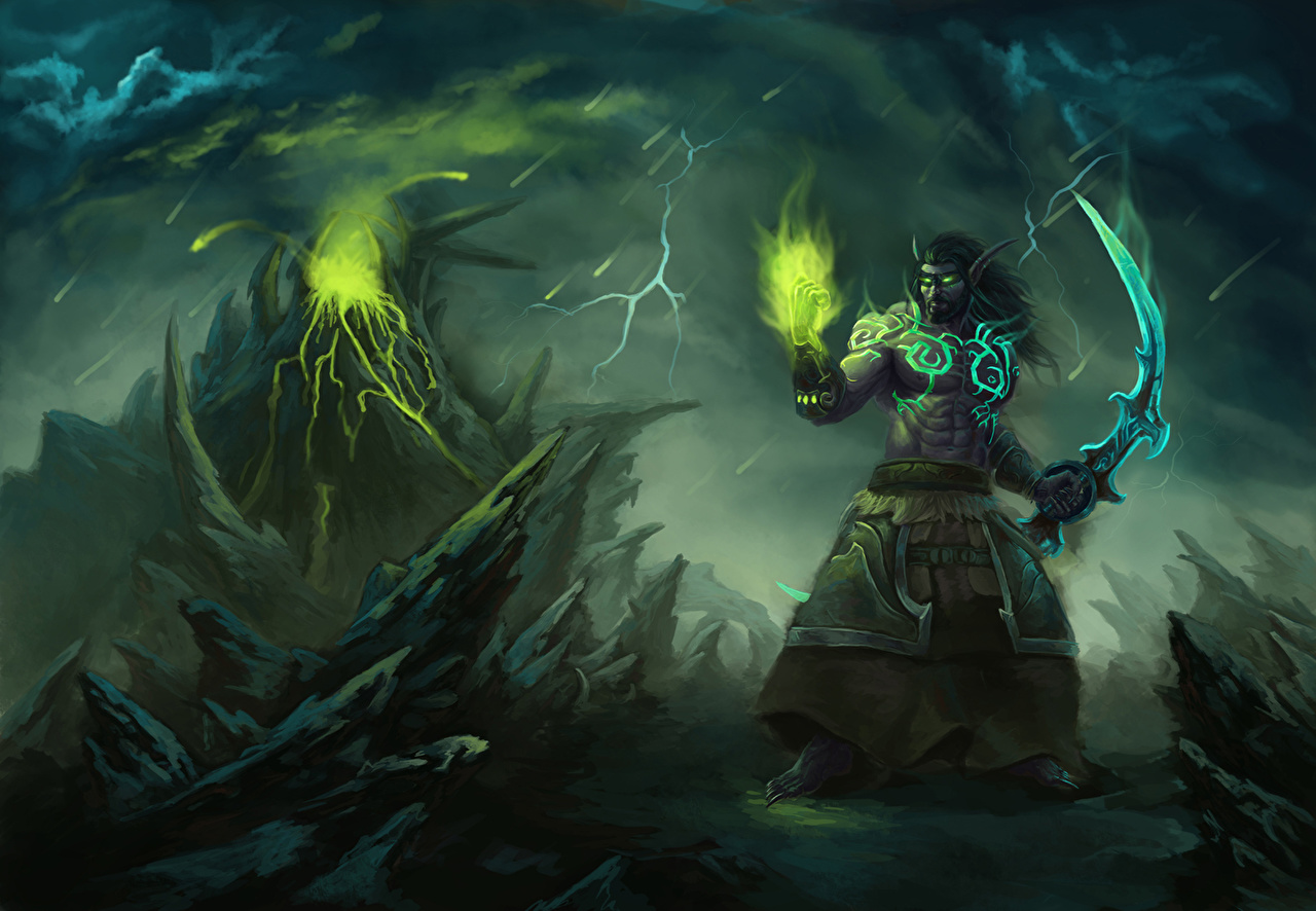 Photos World Of Warcraft Swords Sorcery Elves Warrior Night Elf