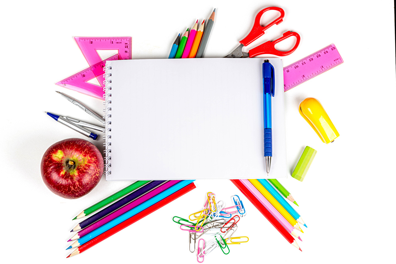 Photo Stationery Pencils Ballpoint pen Notepad Apples White background pencil