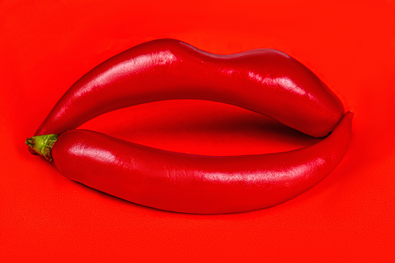 Photo 2 Chili pepper Creative Food Red lips Red background Two