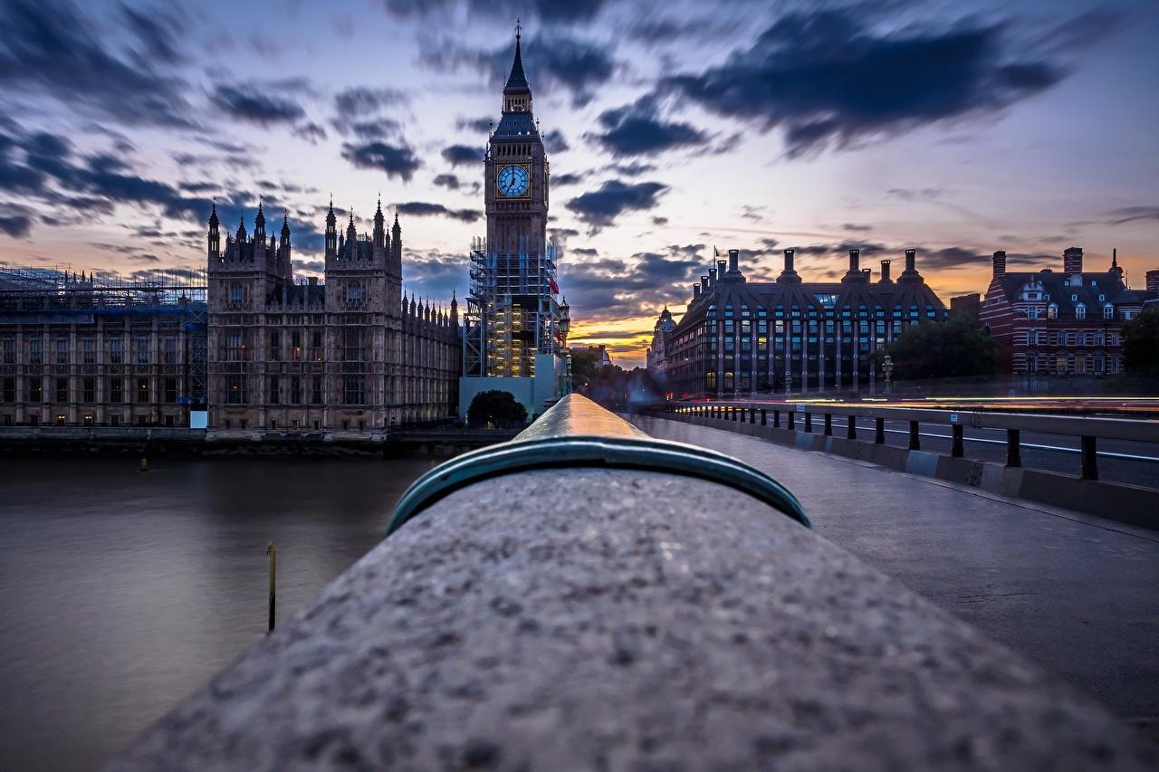 Bilder London Big Ben England Brücken Abend Städte