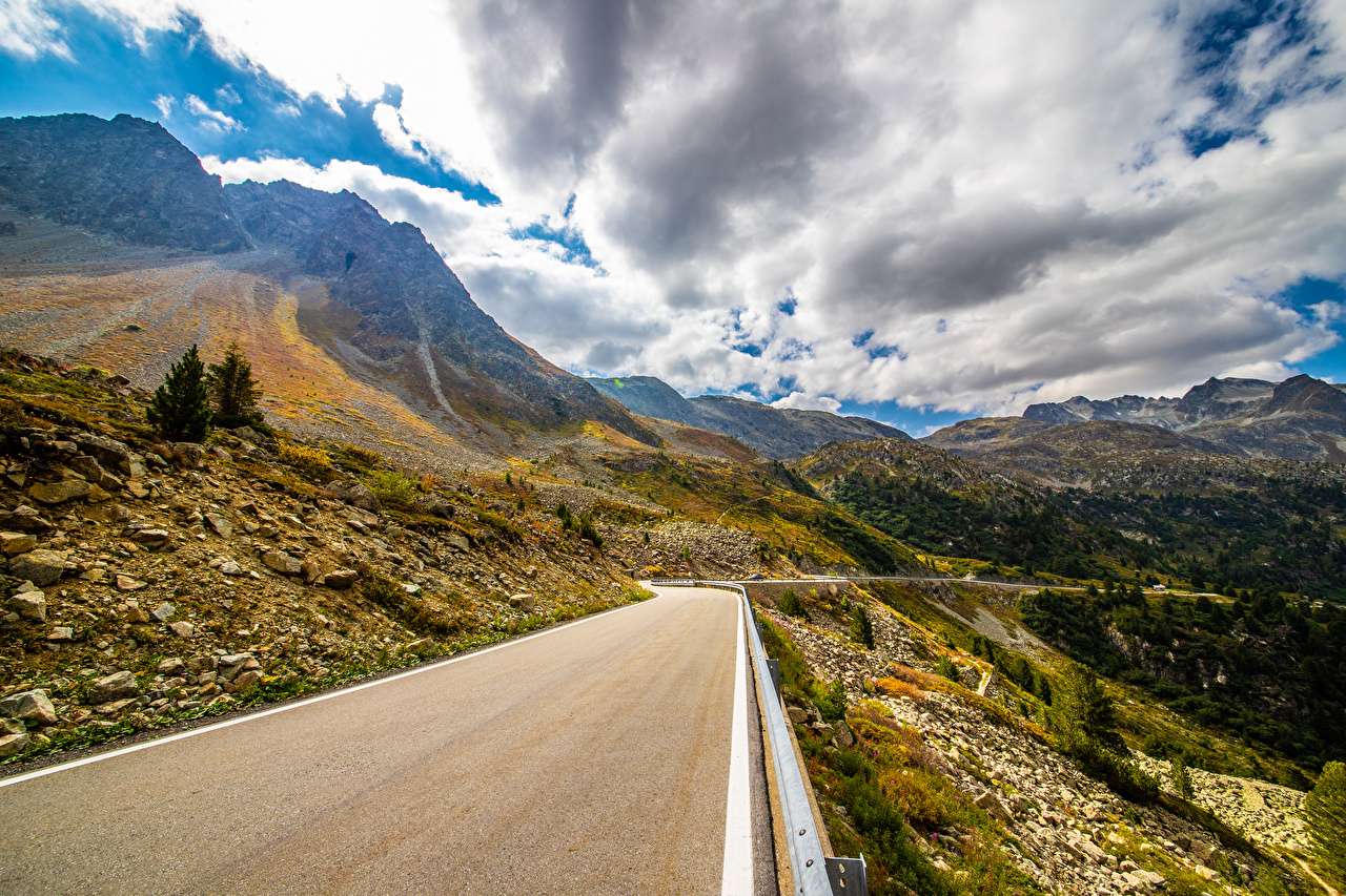 Images Alps Switzerland Nature mountain Roads Scenery Clouds Mountains landscape photography