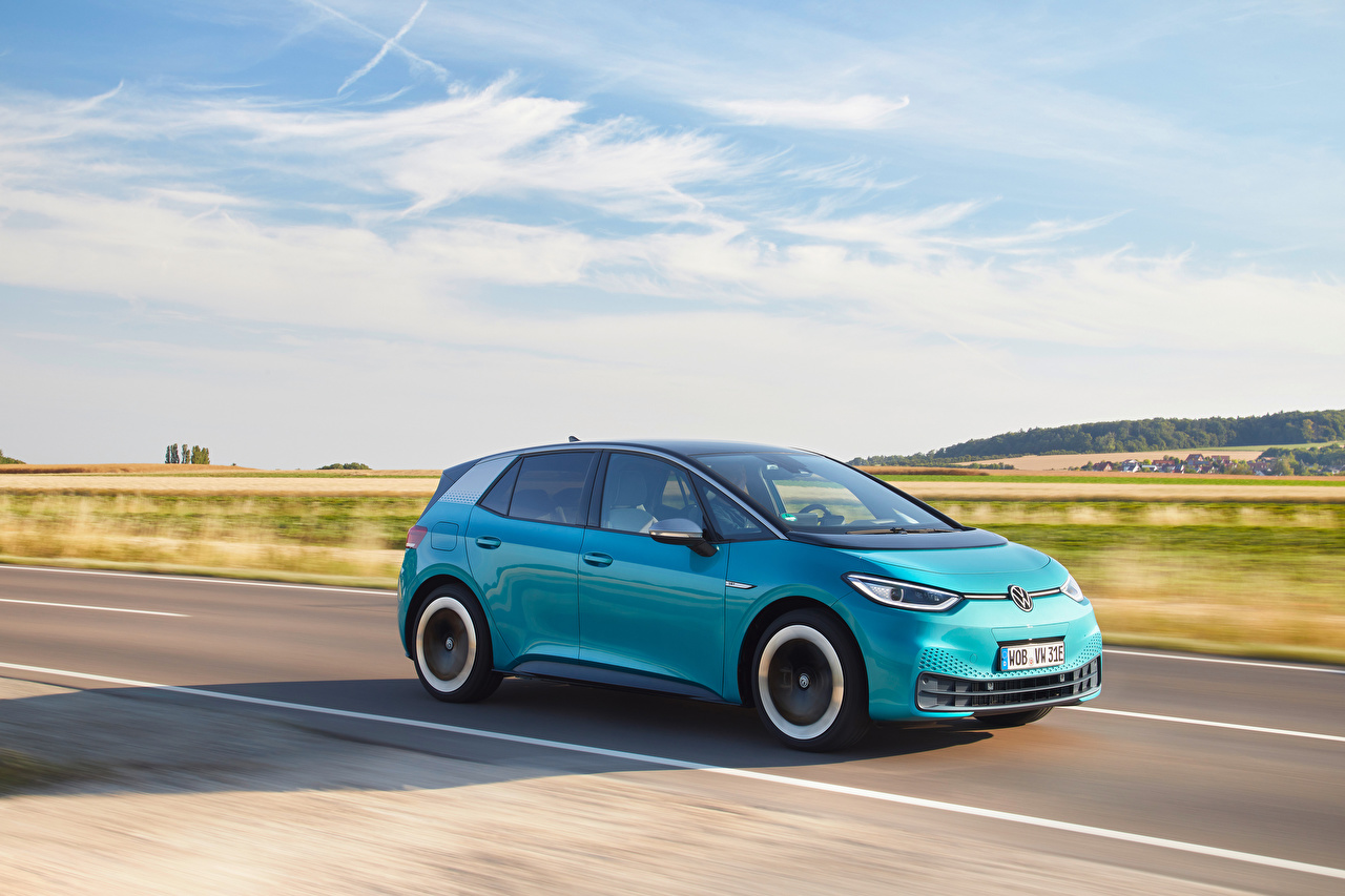 Images Volkswagen ID.3 1ST Worldwide, 2020 Light Blue Roads Motion auto Metallic moving riding driving at speed Cars automobile