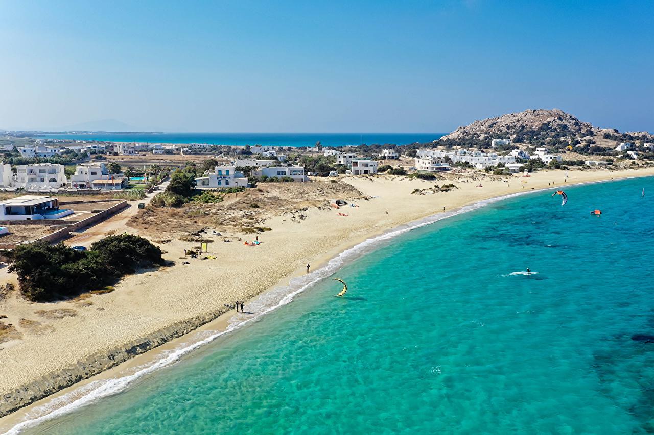 Desktop Wallpapers Greece Naxos City beaches Coast Houses Cities Beach Building