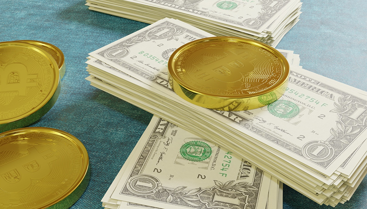Dinero Papel moneda Dólar Bitcoin Oro color Billete 3D Gráficos