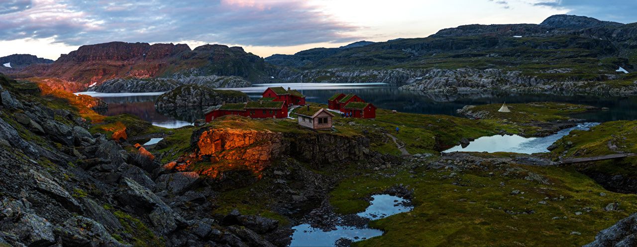 Picture Nature Norway Stranddalen, Rogaland Rock mountain Panorama Crag Cliff Mountains panoramic