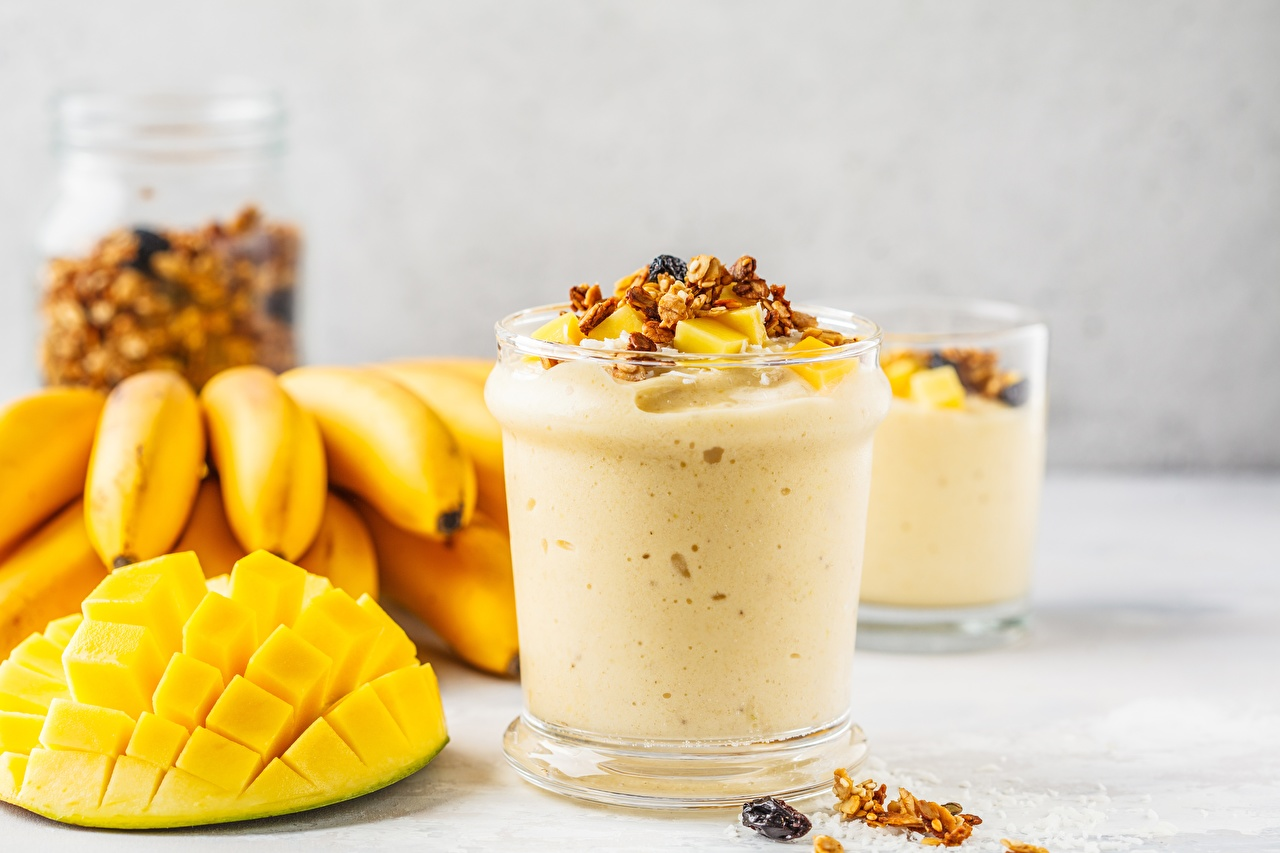 Photos smoothy Mango Bananas Food Smoothie