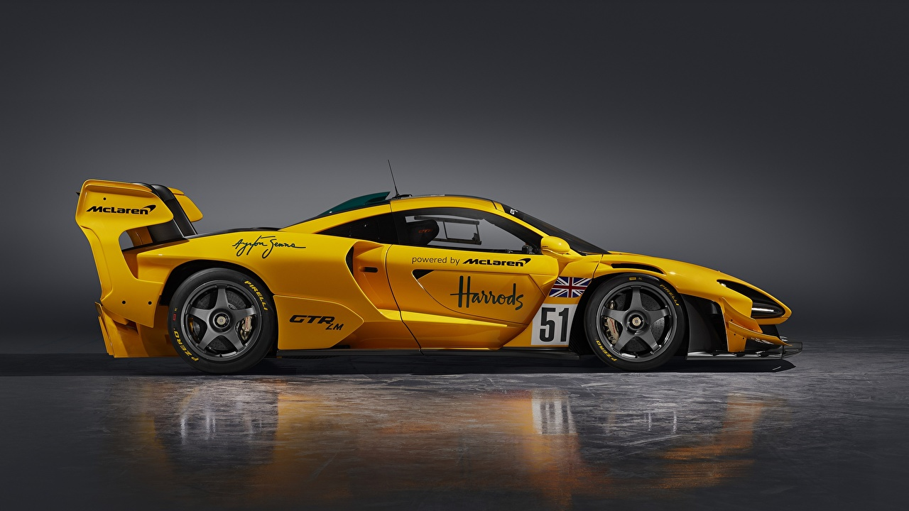 Desktop Wallpapers McLaren Senna GTR LM, 2020 Coupe Yellow Side Cars Metallic auto automobile