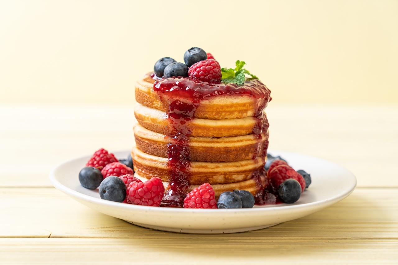Image Pancake Fruit preserves Raspberry Blueberries Food Berry Plate Jam hotcake Varenye