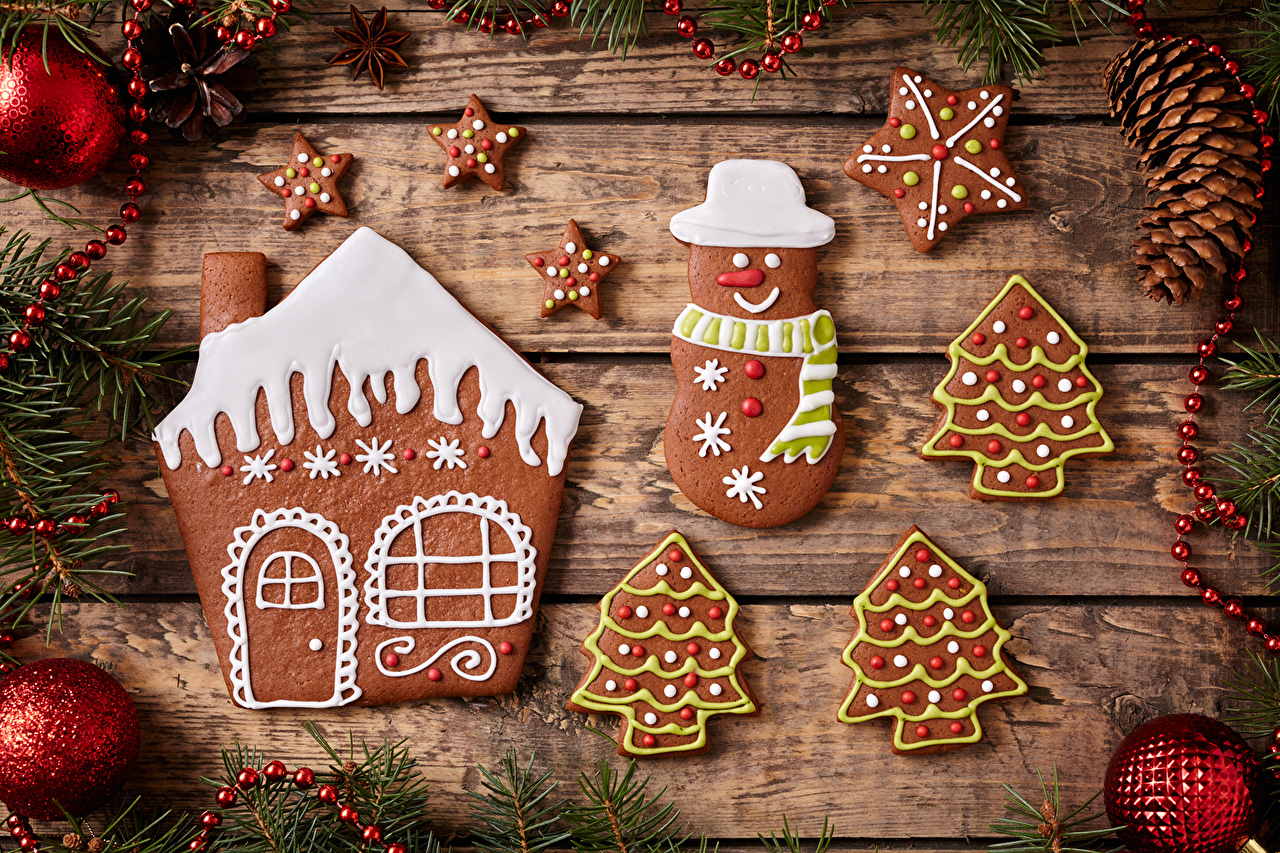 Picture Christmas Food Balls Cookies Pine cone boards Design New year Conifer cone Wood planks