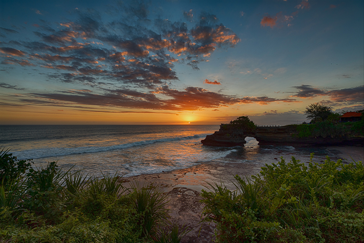 Wallpaper Indonesia Tanah Lot Bali Nature Sky Waves sunrise and sunset Coast Clouds Sunrises and sunsets