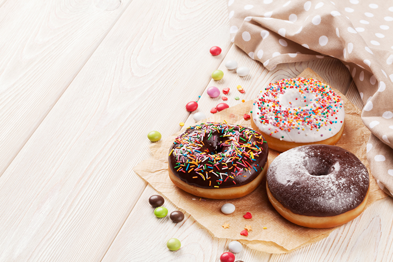 Photos Chocolate Donuts Food Three 3 Sweets Baking Boards Doughnut Pastry Wood planks