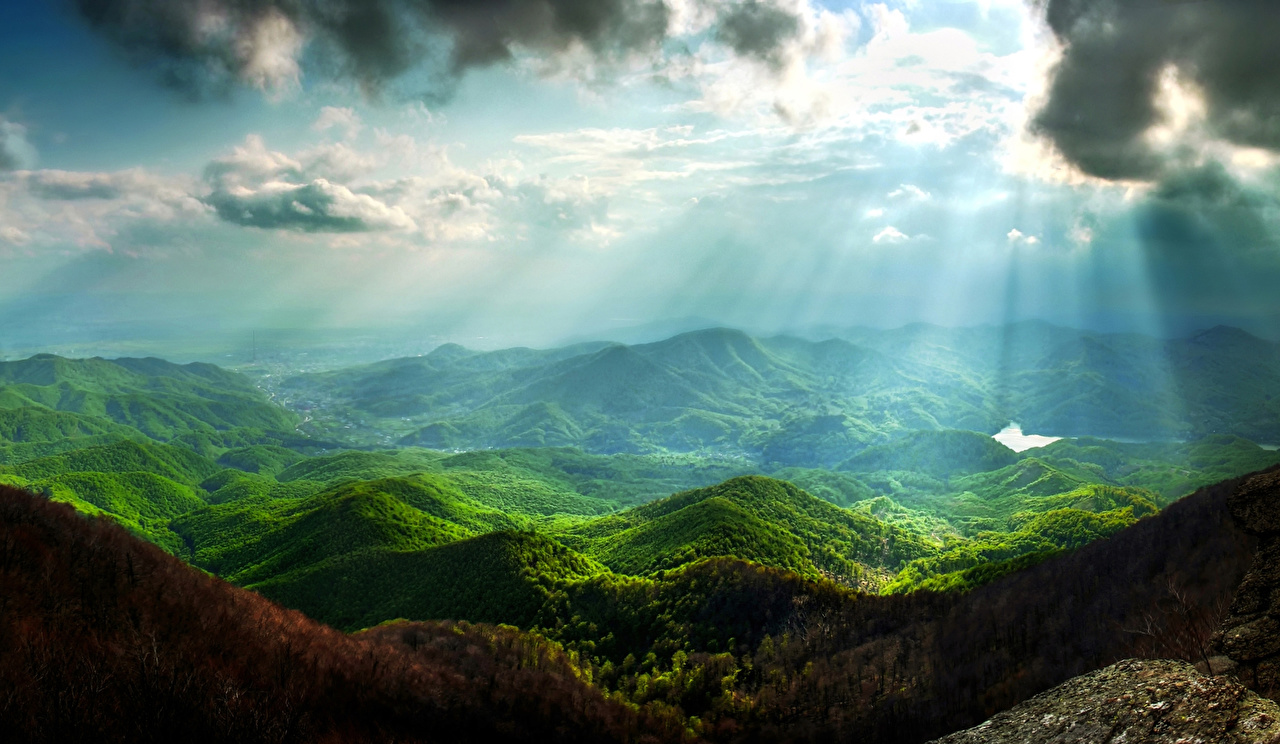 Image Rays of light Nature Mountains Sky Landscape photography Moss Clouds Scenery