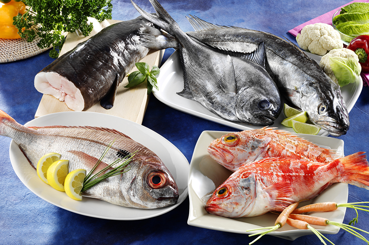 Photos Carrots Lemons Fish - Food Food Plate Seafoods