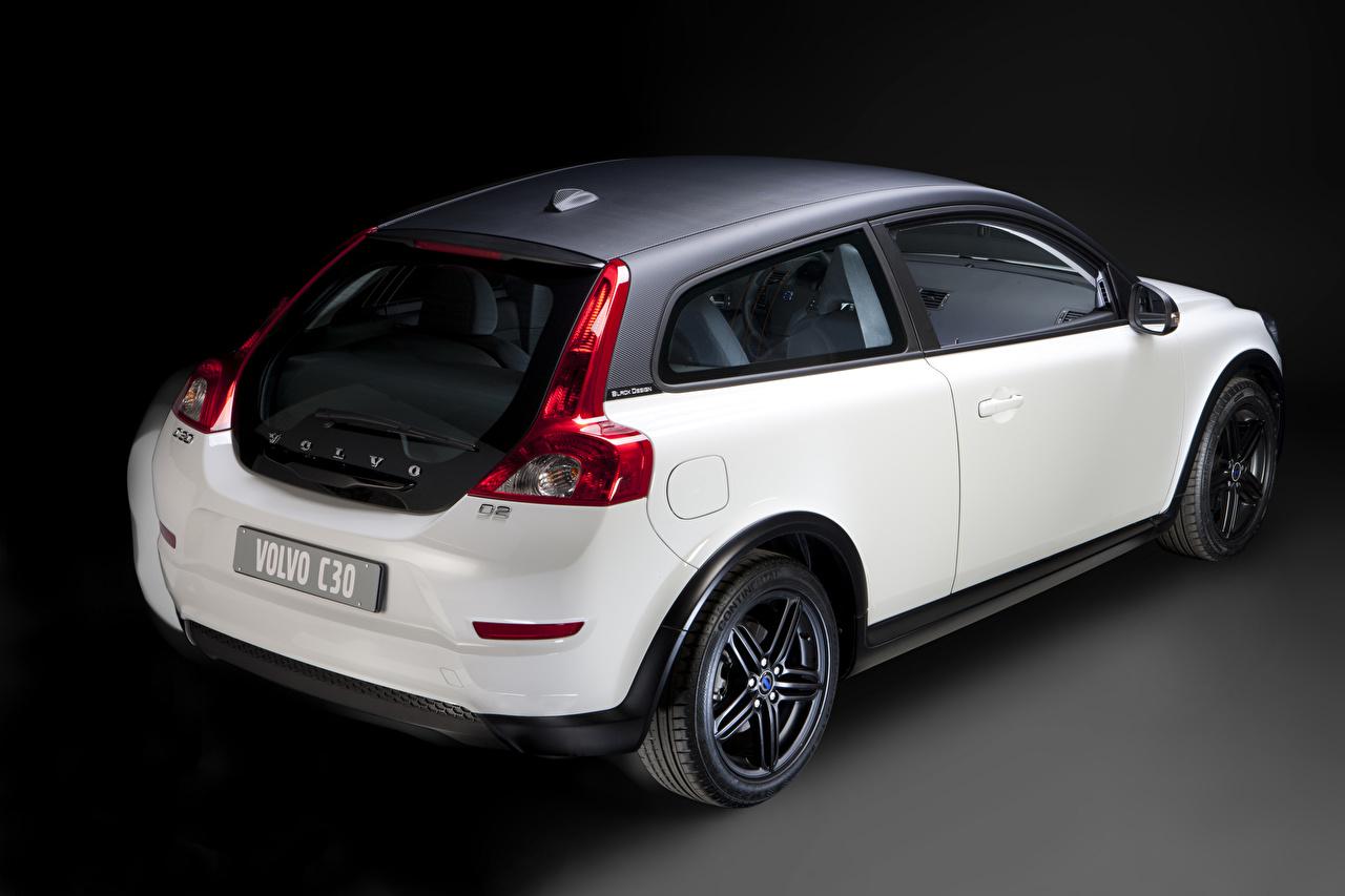 Wallpaper Volvo C30 Black Design Coupe White Back view automobile auto Cars