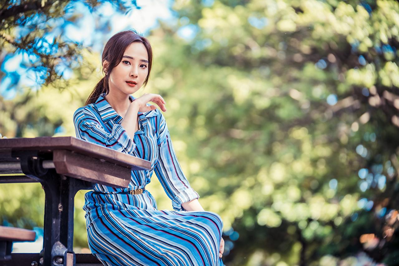Desktop Hintergrundbilder Bokeh posiert Mädchens asiatisches Sitzend Blick unscharfer Hintergrund Pose junge frau junge Frauen Asiaten Asiatische sitzt sitzen Starren