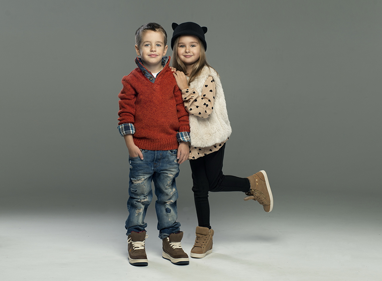 Images Little girls Boys Children Two Boots Jeans Sweater child 2
