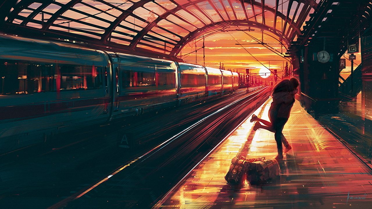 Image Couples in love Two Trains sunrise and sunset Cities Painting Art lovers 2 Sunrises and sunsets
