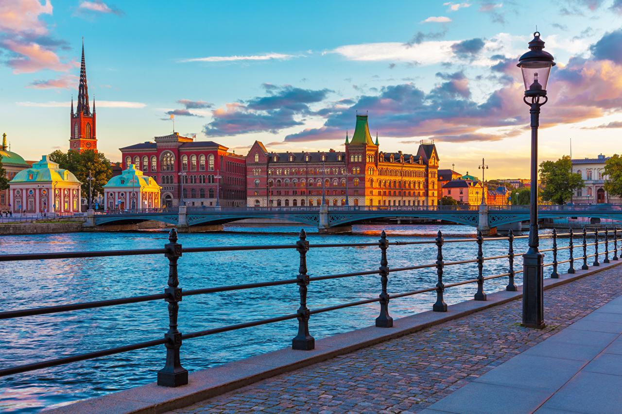 Photo Stockholm Sweden Bridges Fence sunrise and sunset Street lights Cities bridge Sunrises and sunsets