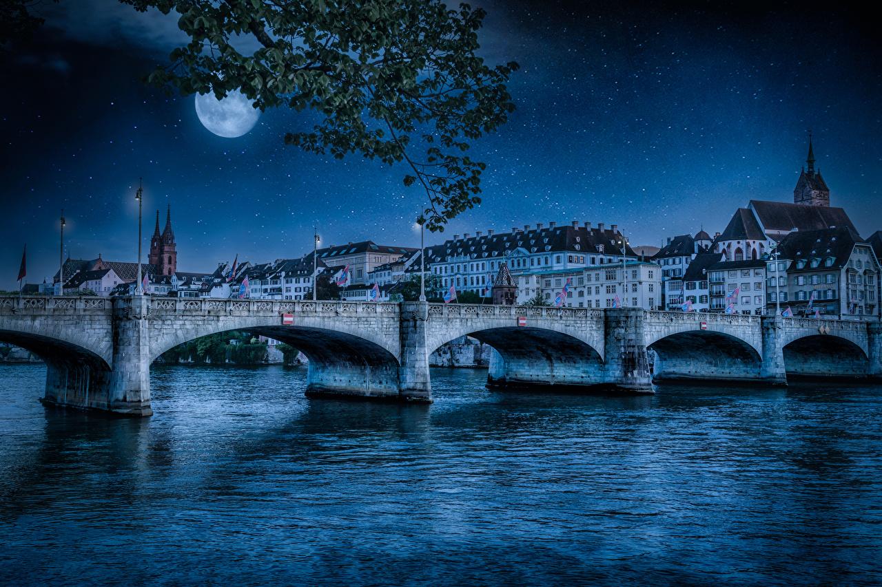 Sfondi del desktop Svizzera Basel ponte Luna fiume Notte Lampioni Città La casa Ponti Fiumi Di notte notturna edificio