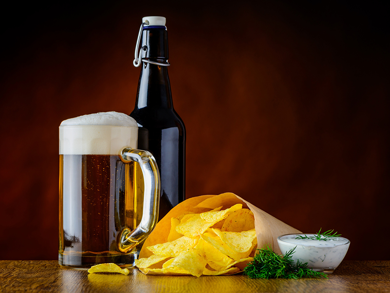 Photos Beer Chips Dill Mug Food Foam Bottle Drinks