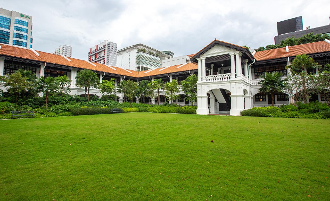 Desktop Wallpapers Singapore Raffles Hotel Lawn Cities Building Houses
