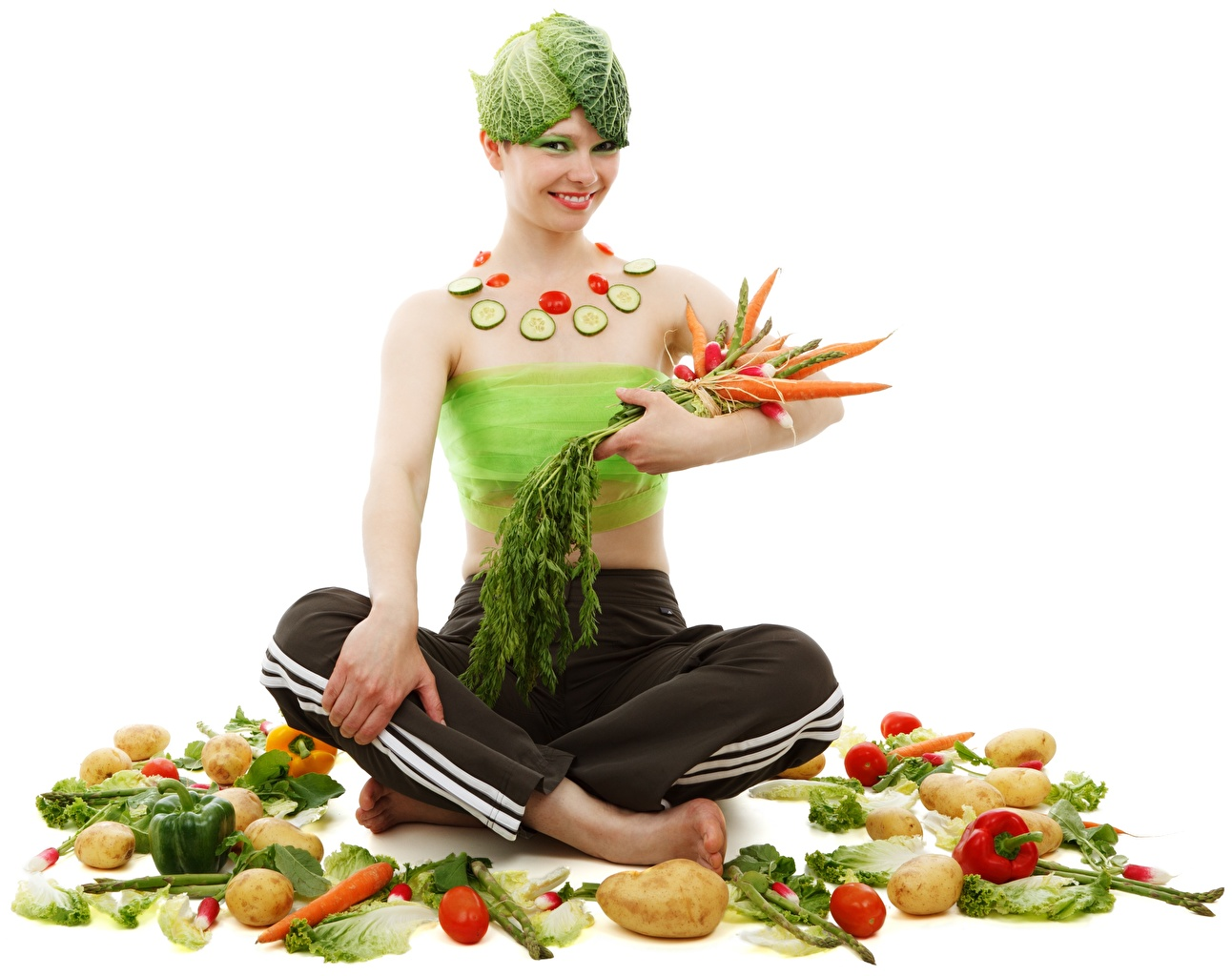 Images Padmasana Smile Potato Carrots young woman Creative sit Food Vegetables White background Lotus position Girls female Sitting