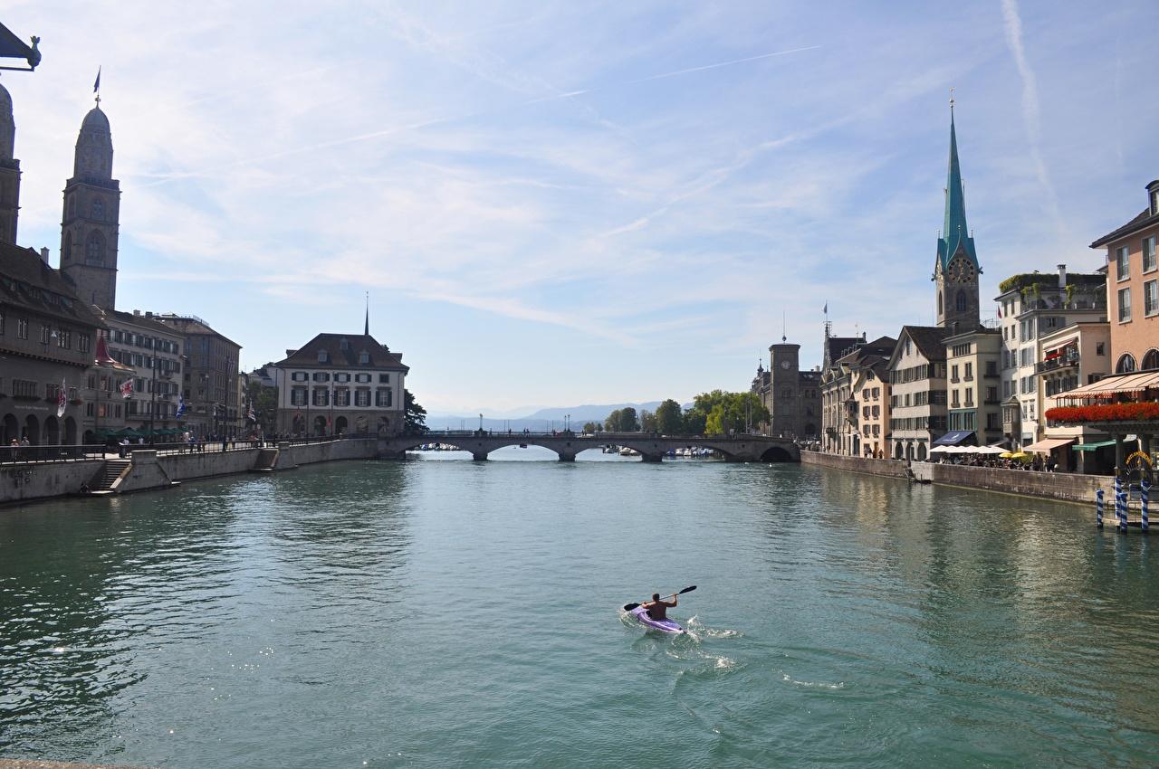 Photos Switzerland Limmat River, Canton of Zurich bridge river Boats Houses Cities Bridges Rivers Building