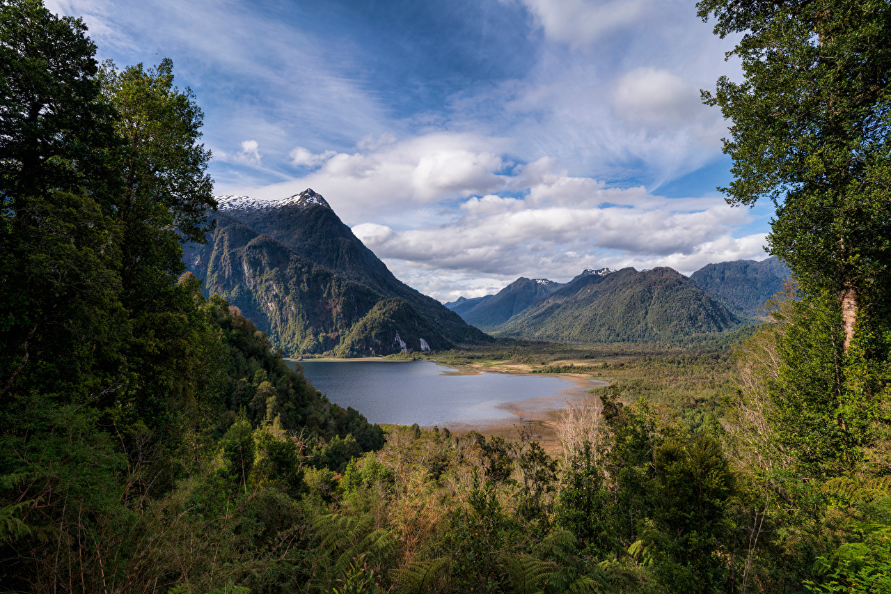 Pictures Chile Rio Negro Lake Nature mountain Clouds Mountains