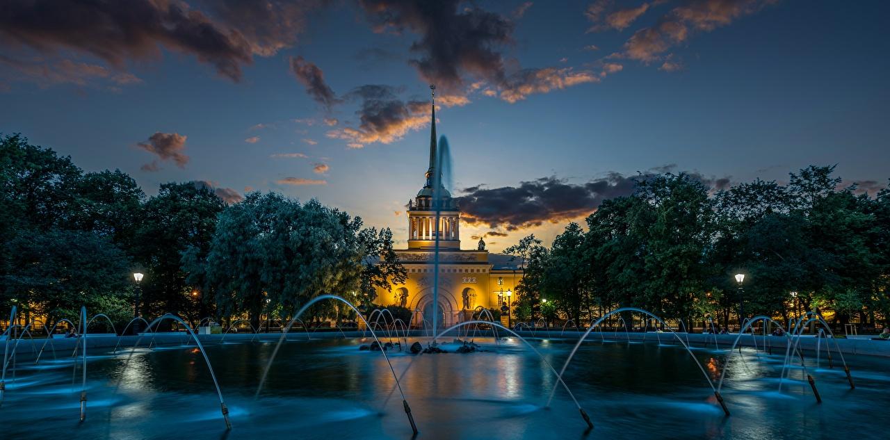 Image St. Petersburg Russia Fountains Alexander Garden Evening Cities