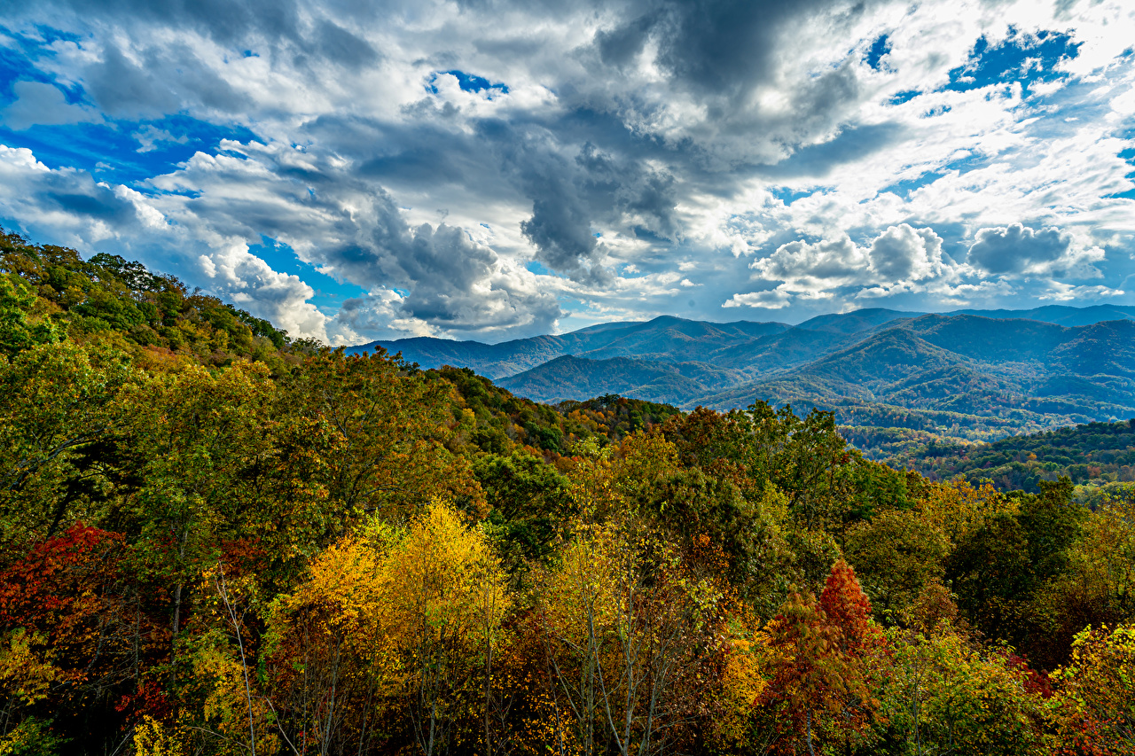 Image Smoky Mountains HDRI Autumn Nature mountain Sky Forests Clouds HDR forest