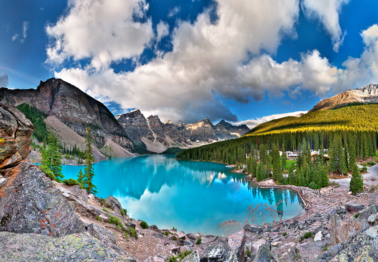 Desktop Wallpapers Banff Canada Moiraine, Alberta Nature mountain Lake park forest Scenery Mountains Parks Forests landscape photography