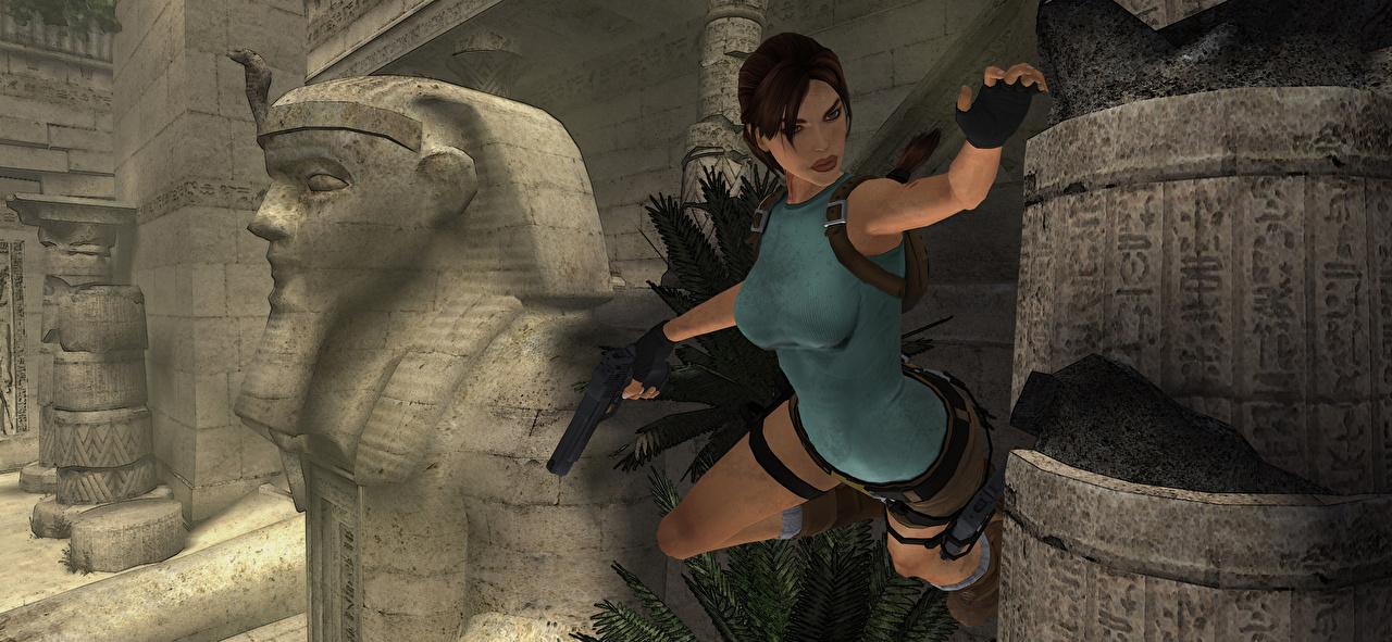 Desktop Hintergrundbilder Tomb Raider Tomb Raider Anniversary Pistole Lara Croft Mädchens 3D-Grafik Spiele Sprung Pistolen junge frau junge Frauen computerspiel