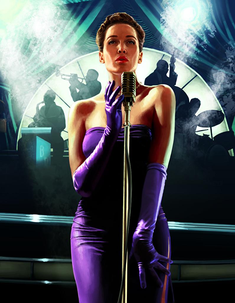 Tapeta L.A. Noire Mikrofon młode kobiety Gry wideo Sukienka  dla Telefon komórkowy mikrofonem dziewczyna Dziewczyny młoda kobieta gra wideo komputerowa