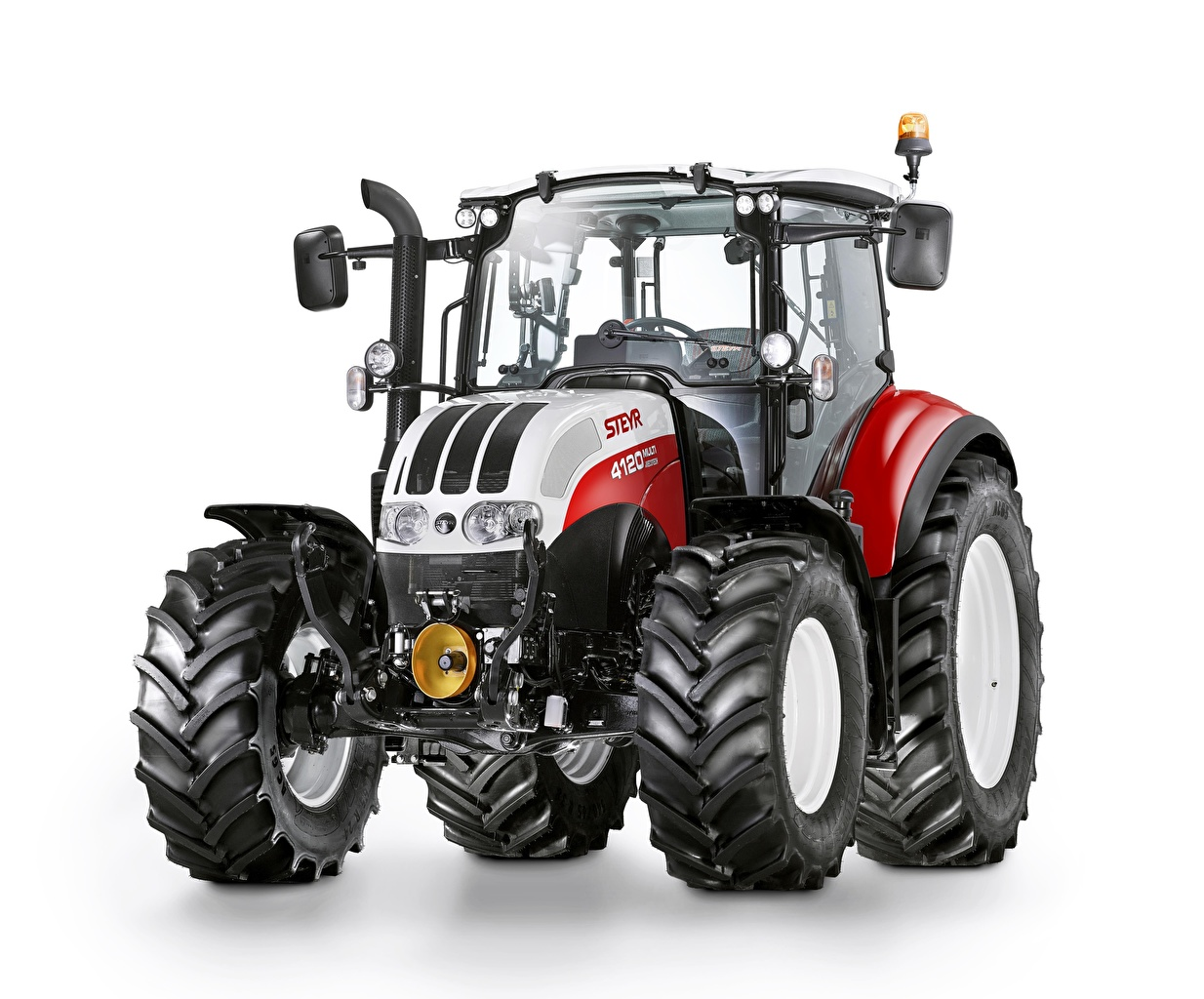 Images Tractor Steyr 4120 Multi Front White background tractors