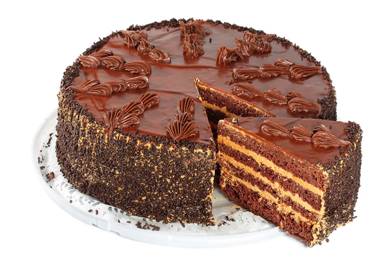 Bilder von Schokolade Torte Lebensmittel Süßware Weißer hintergrund Süßigkeiten