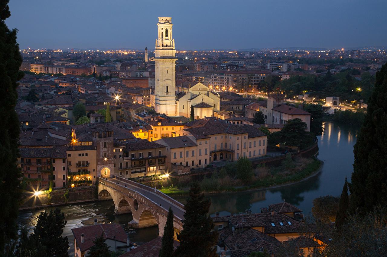 Bilder Verona Italien Brücke Abend Flusse Haus Städte Brücken Fluss Gebäude