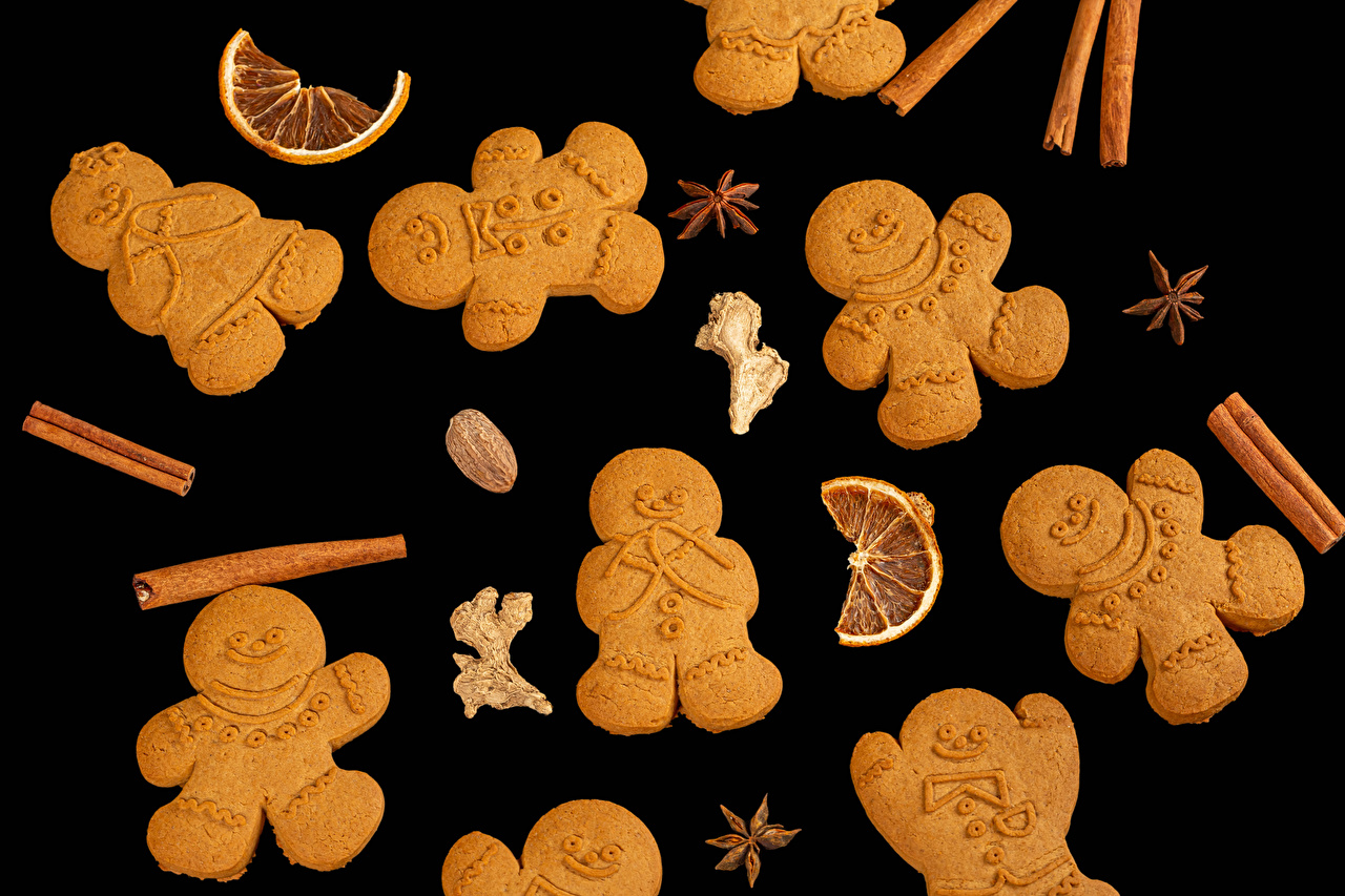 Images Christmas Star anise Illicium Cinnamon Food Cookies Black background Design New year