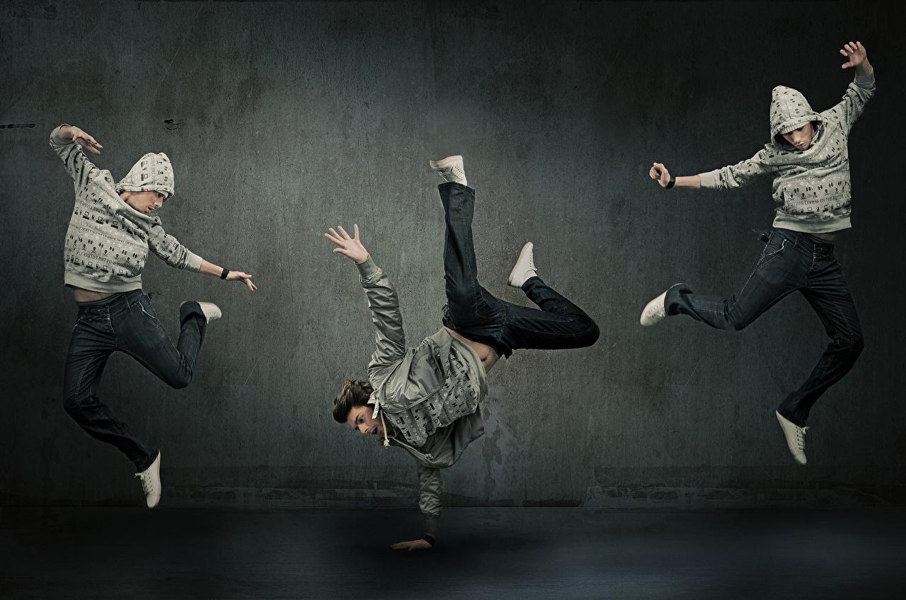 Foto Mann Tanz Bein Sprung Hand Drei 3 Tanzen