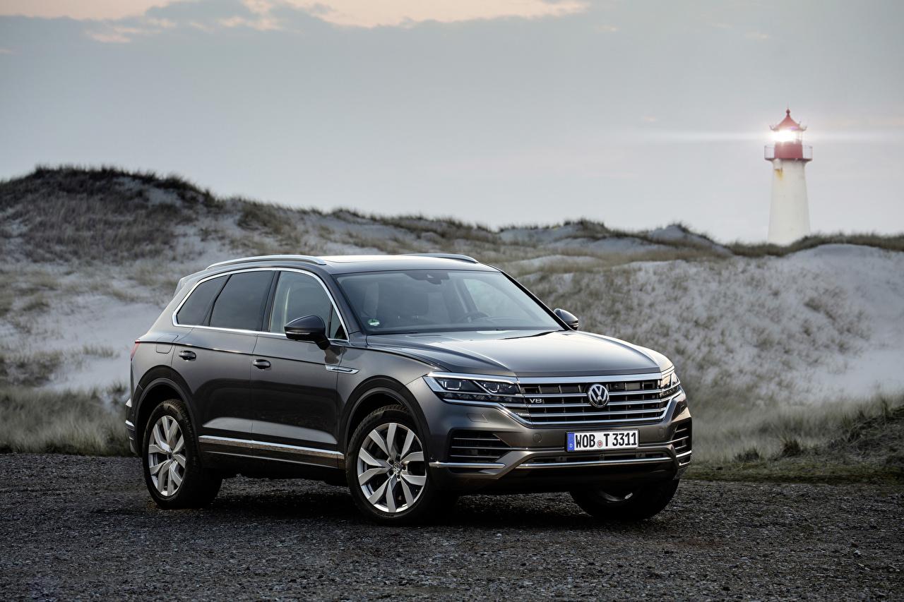 Fotos Volkswagen 2019 Touareg V8 TDI Worldwide Grau Autos graue graues auto automobil